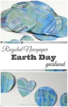 Recycled Newspaper Earth Day Garland - Grab the paints and that stack of old newspapers to make a festive Earth Day garland. The perfect way to upcycle and celebrate Earth Day. | Earth Day Craft | Recycled Craft | Craft for Kids | Newspaper Craft |