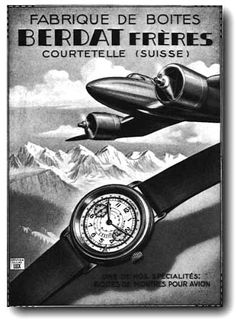 Early '30s era Swiss advertisement for Berdat Brothers aviator's stainless wrist watch cases
