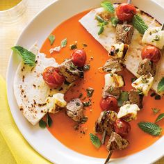 Quick Mediterranean recipes: Grilled Lamb and Halloumi Kebabs - Quick Mediterranean Recipes - Sunset Mobile Kebab Recipes, Lamb Recipes, Wine Recipes, Lunch Recipes, Healthy Dishes, Healthy Eating, Healthy Recipes, Tasty Meals, Easy Indian Recipes