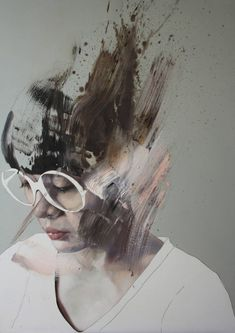 """Il lago è fermo"" - Jessica Rimondi, acrylic and oil on wood, 2015 {figurative art female head eyeglasses woman face portrait abstraction painting} Painting Inspiration, Art Inspo, L'art Du Portrait, Portrait Acrylic, A Level Art, Ap Art, Art Plastique, Figurative Art, Oeuvre D'art"