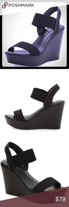 Charles David black leather wedge sandals 4 inch covered wedge heel. 1.5 inch platform. 2 elastic strap bands with open toe. Slip on style with a padded footbed for extra comfort. Charles David Shoes Sandals