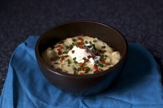 """Baked Potato Soup from Smitten Kitchen We're on day two of something called a """"wintry mix"""" which I suspect if I lived in one of those places where one was forced to wear shorts and sunglasses in January, eating food pl… Soup Recipes, Great Recipes, Cooking Recipes, Favorite Recipes, Kitchen Recipes, Potato Recipes, Lunch Recipes, Recipies, Smitten Kitchen"""
