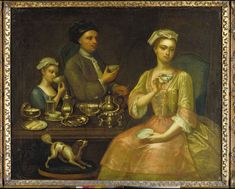 """""""A Family at Tea,"""" attributed to Richard Collins, oil painting, c. 1727, possibly painted in Lincolnshire or Leicestershire, England."""