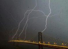 San Francisco bay bridge being struck by lightning