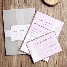 purple romantic wedding dress pocket wedding invitations affordable EWPI071