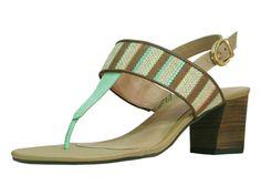 sandália salto baixo verde menta - daleph