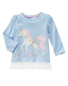 Toddler Girls Soft Blue Sparkle Unicorn Tee by Gymboree
