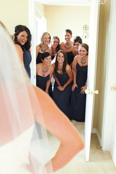 First look with the bridesmaids! See more from this modern blue wedding in Knoxville! Bridesmaid attire by @davidsbridal. Pics by Maganda Moments | The Pink Bride® www.thepinkbride.com