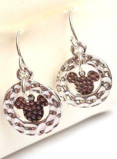 Silver Mickey Mouse Earrings Ears Dangle Disney Pierced Plated Copper USA Seller #Unbranded #DropDangle