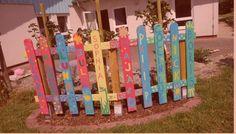 Kindergarten Abschiedsgeschenk : Zaunlatten bemalen