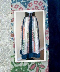 445158323d73 VINTage Chessa Davis - bohemian - hippie - blue velvet - lace vintage one  of a kind skirt