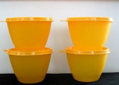 Tupperware NEW Set of 4 Bowls Tangerine Orange by Tupperware. $24.99. lifetime warranty. tupperware. dishwasher safe. Set of 4 Tupperware Refrigerator Bowls in Tangerine Orange.  Approx 14 ounce capacity.  Virtually airtight, liquid-tight seals.  Ideal for storing leftovers, take to work or school in the lunch bag, use for snacks, etc.  Dishwasher safe