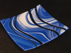 Stunning Colbalt Blue Fused Glass Serving Platter 8 x 8       made with Spectrum Opal Art Glass - pinned by pin4etsy.com