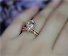 Handmade Morganite Pear 10x7mm Halo Diamond Ring Set by NidaRings