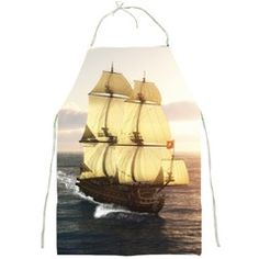 """#French #Warship #Apron by gatterwe $24.99   A French warship sails through the sea. The sea are restless!  Made from polyester. Fully printed apron front. Machine washable. 2 front pockets with Velcro opening for kitchen utensils. Design images imprinted using a heat dye sublimation technique to prevent color fading. Fastened with adjustable straps. Fits up to waists of 42"""". Measures approximately 19""""(w) x 27""""(h)"""