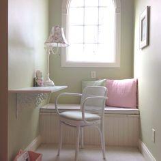 Dormer window desk. 2 boards held by 2 brackets. Lovin it!