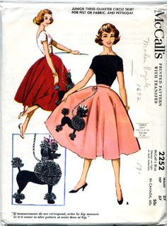 Waist Sz 24 - Vintage Skirt Pattern - McCall 2252 - Junior's Three-Quarter Circle Skirt or Poodle Skirt - McCall's Patterns Poodle Skirt Pattern, 1950s Poodle Skirt, Poodle Skirts, Poodle Dress, 1950s Skirt, Pink Poodle, Tutu Skirts, 1950s Style, Vintage Outfits