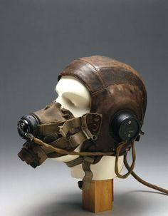 flying helmets: Leather flying helmet and mask, c 1946.
