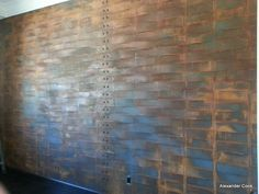 Riveted Sheet Panels Brushed Metal Wall With Rivets