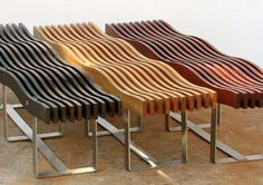 Timber wave benches. Like the idea but why the frame. Add legs in the spaces between the slats.  V shaped between the bolts and butt into the slats.