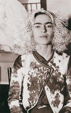 Frida Kahlo with a cloth on her head  by Lucienne Bloch  New York, 1935
