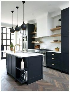 Black Kitchen Cabinets, Black Kitchens, Cool Kitchens, Dark Cabinets, Kitchen Black, Green Cabinets, Island Kitchen, Kitchen Modern, Kitchen Shelves