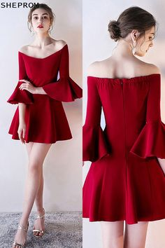 Shop Short Off Shoulder Homecoming Dress Flare with Bell Sleeves online. SheProm offers formal, party, casual & more style dresses to fit your special occasions. Trendy Dresses, Nice Dresses, Casual Dresses, Short Dresses, Fashion Dresses, Dresses With Sleeves, Formal Dresses, Ankara Fashion, Formal Prom