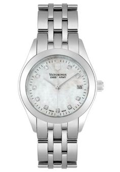 Victorinox Swiss Army Quartz, Stainless Steel Silver Band Mother of Pearl Dial - Women's Watch 24849 Victorinox Swiss Army, Swiss Army Watches, Pearl Diamond, Chronograph, Quartz, Pearls, Band, Amazon, Stuff To Buy