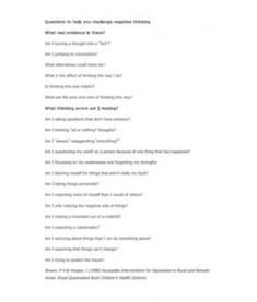 Questions to Help You Challenge Negative Thinking