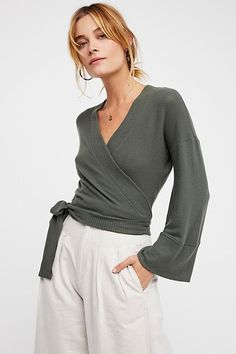 free people olive wrap me up pullover sweater