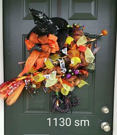Witch deco mesh wreath Halloween witchy woman!   #1030