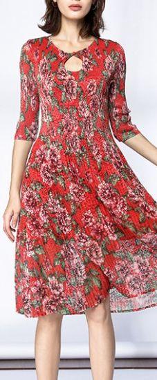 Beach Red Lace Print Half Sleeve   A-Line Midi Dress