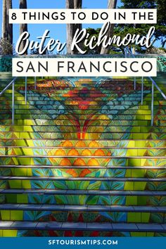 Discover the 8 best things to do in the Outer Richmond Neighborhood which sits near Golden Gate Park, Lincoln Park, and Ocean Beach. You'll also find the best places to eat and enjoy some nightlife. Mosaic Stairs, Sutro Baths, Pacific Heights, Golden Gate Park, San Francisco Travel, Great Restaurants, Best Places To Eat, Ocean Beach, Great View
