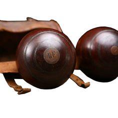 English Victorian Antique Lawn Bowling Balls Game Set
