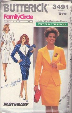 MOMSPatterns Vintage Sewing Patterns - Butterick 3491 Vinatge 80's Sewing Pattern CHIC Family Circle Collection Dynasty POWER SUIT Winged Lapels Fitted Jacket, Sheath Skirt Size 6-10