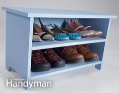 Shoe storage bench.  12 Simple Storage Solutions | The Family Handyman