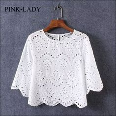2016 Summer Blouse Shirt Women Half Sleeve O Neck Hollow Crochet Embroidery Lace Cotton Blouse Shirt White Tops Casual Clothing White Cotton Blouse, Cotton Blouses, Blouse Styles, Blouse Designs, Lace Top Dress, Shirt Embroidery, Personalized T Shirts, Lace Tops, White Tops