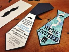 Custom Birthday Invitations By Custom Concepts Miami By Yanet! Black and Cream with patterned cardstock for a Little Man Mustache Birthday Themed Party.