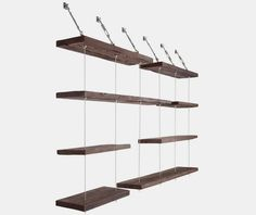 The Turnbuckle Floating Shelves has eight differently-sized suspended  shelves you can set up in