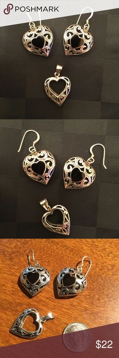 Heart Earrings and Pendant 💕 Silver toned earrings have black heart on front and back 💕 Pendant has heart cut-out 💕 Gently used Jewelry