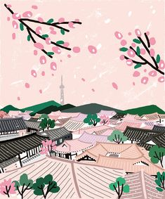 Korean Illustration, Landscape Illustration, Graphic Illustration, Kawaii Cute Wallpapers, Bukchon Hanok Village, Korea Wallpaper, Korean Painting, Posca Art, Map Painting