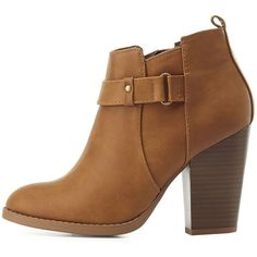 Delicious Belted Ankle Booties (2.615 RUB) ❤ liked on Polyvore featuring shoes, boots, ankle booties, cognac, block heel boots, delicious boots, chunky booties, almond toe boots and chunky ankle booties