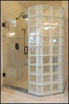 Amazing Glass Brick Shower Division Design Ideas - Page 34 of 41 - Farhah Decor Bathroom Interior, Modern Bathroom, Glass Block Shower, Glass Blocks Wall, Ideas Baños, Glass Brick, Glass Door, Small Space Bathroom, Shower Remodel