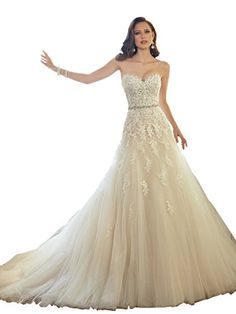 Elley Womens Sweetheart Applique Bodice Strapless Tulle Wedding Bridal Gown  Light Champagne US8     62644ae305ae
