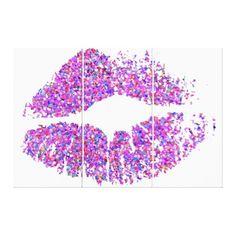 Multicolor Grit Glitter Lips #30 Canvas Print - glitter gifts personalize gift ideas unique