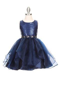 7675410a4c09 Cinderella Sparkling sequin organza short dress with two tone rhinestone  grosgrain sash belt. Girls short
