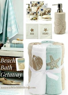 Accessories and bath towels designed in motifs and colors that will sooth your soul like a tranquil beach on a tropical island; http://beachblissliving.com/beach-bath-accessories/