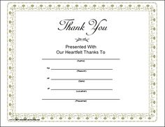 this printable certificate of heartfelt thanks is bordered in tiny silver grey flowers and features