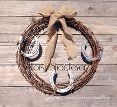 © Horseshoe Barbwire Wreath Glittered. By HorseShoeFever. Western Home Decor. Wedding, Rustic, Outdoor, Burlap, Birthday, Country, Western, Barn, Stables, Handcrafted, Rusty, Horseshoe Craft Line. Cowgirl Bling, Barbed Wire, Decorations, Christmas, House