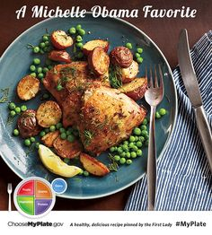 Herb-roasted Chicken with Potatoes and Peas #protein #myplate #myplatebirthday
